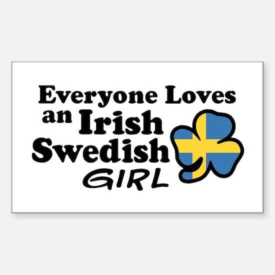 Irish Swedish Girl Sticker (Rectangle)