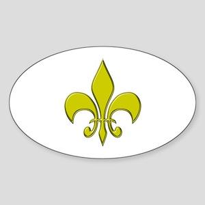 """Gold Fleur"" Oval Sticker"