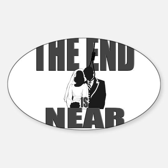 End Is Near Groom Sticker (Oval)