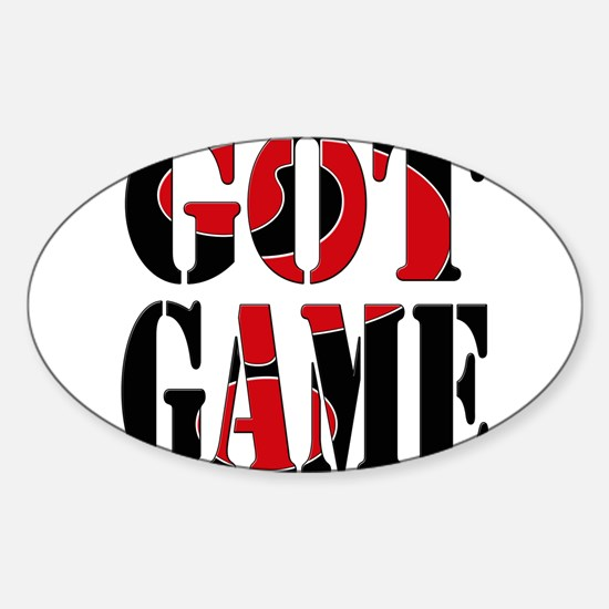 Got Game Black Red Sticker (Oval)