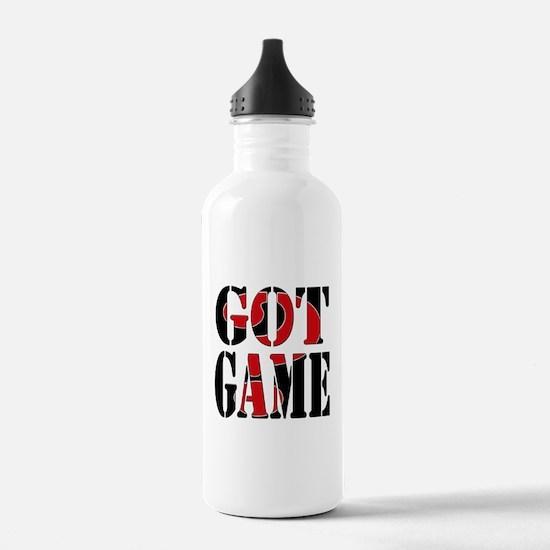Got Game Black Red Water Bottle