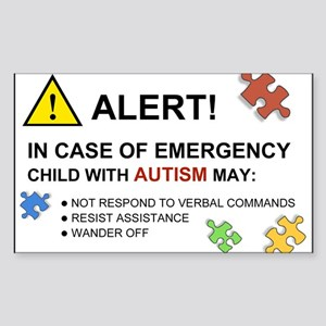 Autism Emergency Warning Sticker for Car