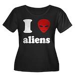 I Love Aliens Women's Plus Size Scoop Neck Dark T-