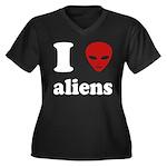I Love Aliens Women's Plus Size V-Neck Dark T-Shir