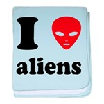 I Love Aliens baby blanket