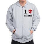 I Love Aliens Zip Hoodie