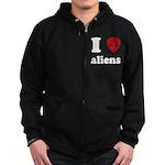 I Love Aliens Zip Hoodie (dark)