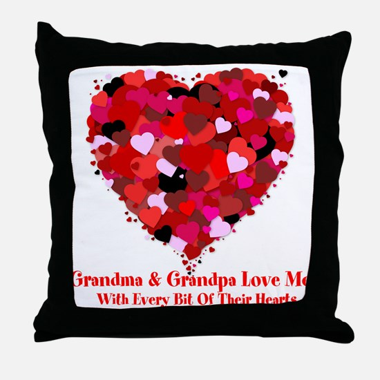 Grandma and Grandpa Love Me Valentine Throw Pillow