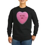 Bite Me Heart Long Sleeve Dark T-Shirt