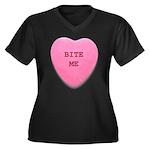 Bite Me Heart Women's Plus Size V-Neck Dark T-Shir