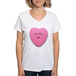 Bite Me Heart Women's V-Neck T-Shirt