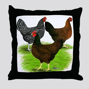 Dark Brown Egg Hens Throw Pillow