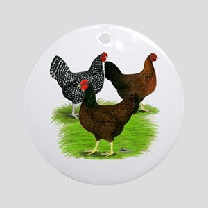 Dark Brown Egg Hens Ornament (Round)
