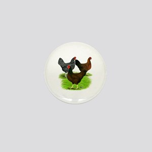 Dark Brown Egg Hens Mini Button