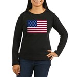 US Flag Women's Long Sleeve Dark T-Shirt