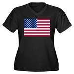 US Flag Women's Plus Size V-Neck Dark T-Shirt