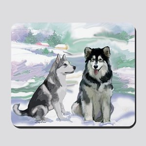 Alaskan Malamute Winter Mousepad