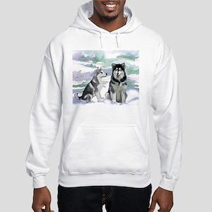 Alaskan Malamute Winter Hooded Sweatshirt