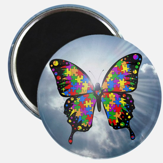 """Autism Butterfly Sky Magnet - 2.25"""""""