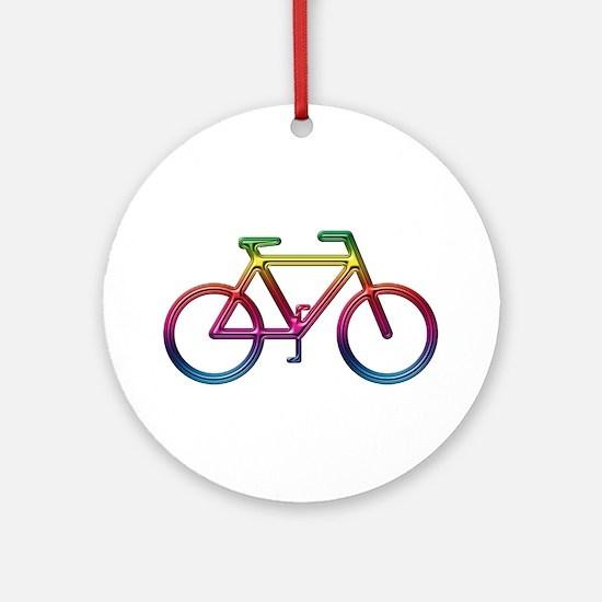 """Rainbow Bike"" Ornament (Round)"