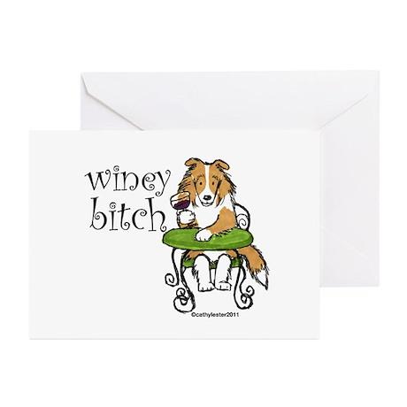 Winey Bitch Sheltie Greeting Cards (Pk of 10)