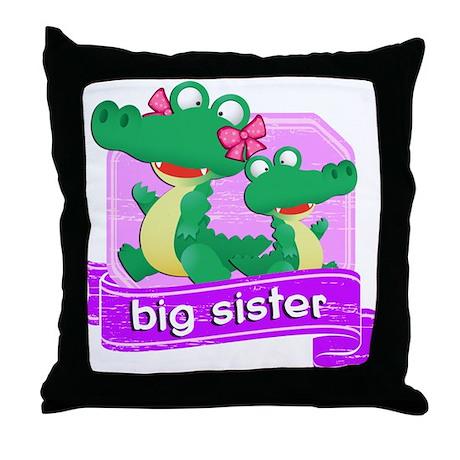 Big Sister Alligator Throw Pillow