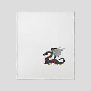 Angry Rainow Dragon Throw Blanket