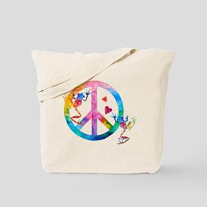 Tree Frogs 4 Peace Symbols Tote Bag