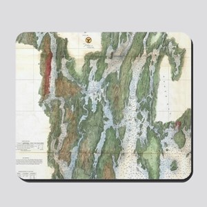 Vintage Kennebec and Sheepscot River Map Mousepad