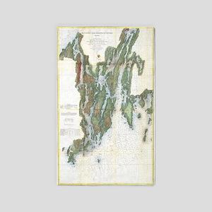 Vintage Kennebec and Sheepscot River Map Area Rug