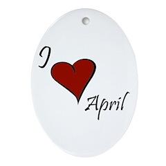 I love April Ornament (Oval)
