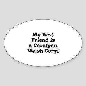 My Best Friend is a Cardigan Oval Sticker