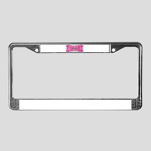 Pink Leopard Bitch License Plate Frame