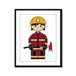 Cute UK Firefighter Framed Panel Print