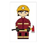 Cute UK Firefighter Postcard (Pk of 8)