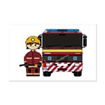Firefighter and Fire Engine Mini Poster Print