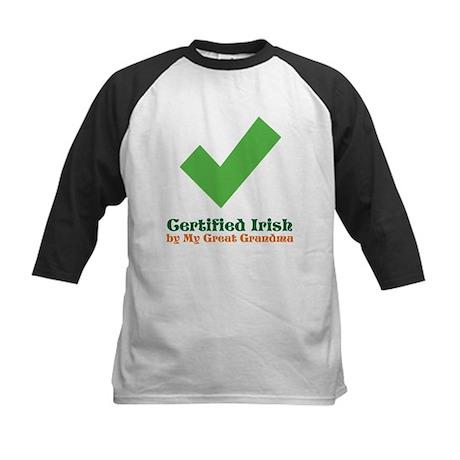 Certified Irish/Great Grandma Kids Baseball Jersey