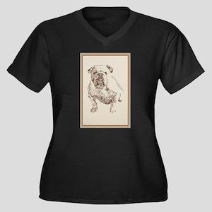 English Bulldog Women's Plus Size V-Neck Dark T-Sh