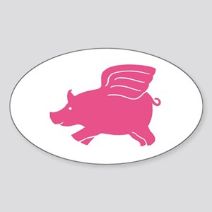 Flying Pig Oval Sticker
