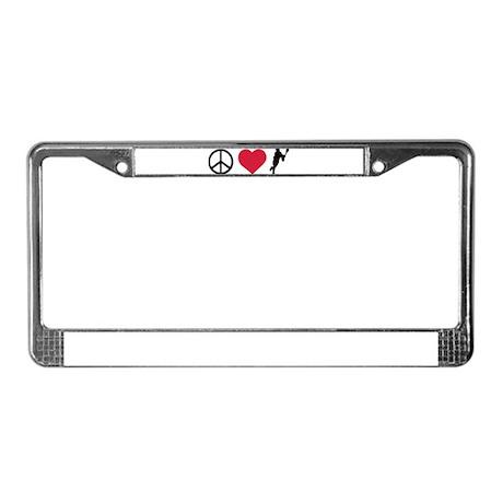 Peace, Love & Lacrosse License Plate Frame