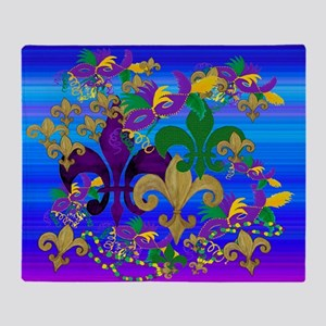 Psycadelic Fleur de lis Mardi Gras Throw Blanket