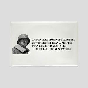 Patton - A Good Plan Rectangle Magnet