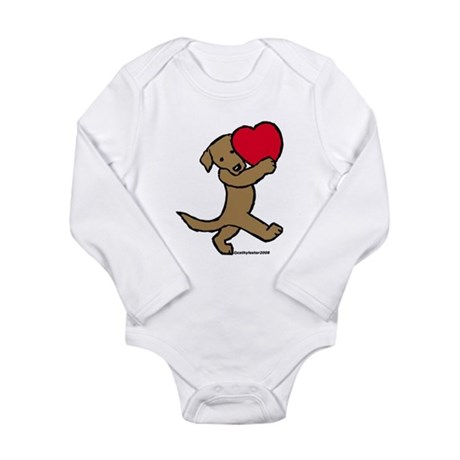 Lab (Chocolate) Heart Long Sleeve Infant Bodysuit