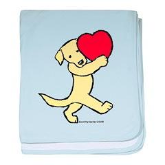 Lab (Yellow) Heart baby blanket