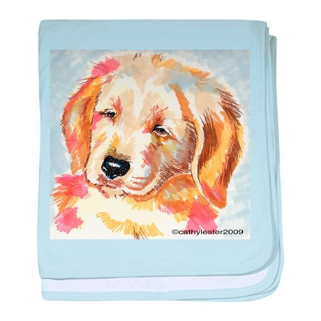 Golden Retriever Puppy Head Baby Blanket By Cathylester