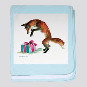 Fox and Present baby blanket