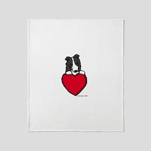 Black Border Collie Valentine Throw Blanket