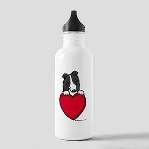 Black Border Collie Valentine Stainless Water Bott