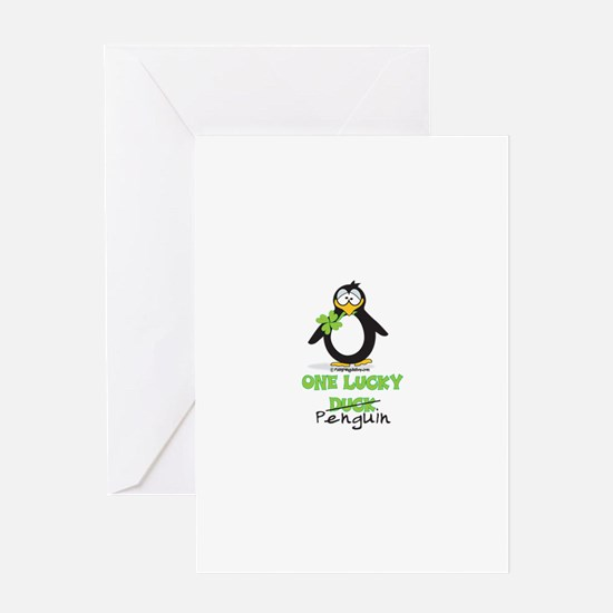 One Lucky Duck Penguin Greeting Card