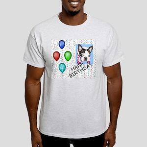 HAPPY BIRTHDAY BOSTON TERRIER Ash Grey T-Shirt